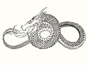 Ink dragon illustration.