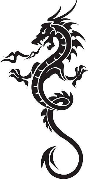 ドラゴン・タトゥーの女 - 竜のタトゥー点のイラスト素材/クリップアート素材/マンガ素材/アイコン素材