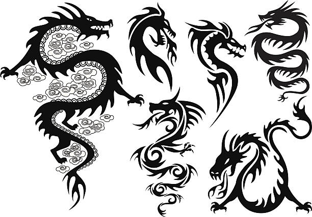 illustrations, cliparts, dessins animés et icônes de tatouage de dragon - tatouages dragons