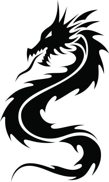 Dragones tatuaje Tribal - ilustración de arte vectorial