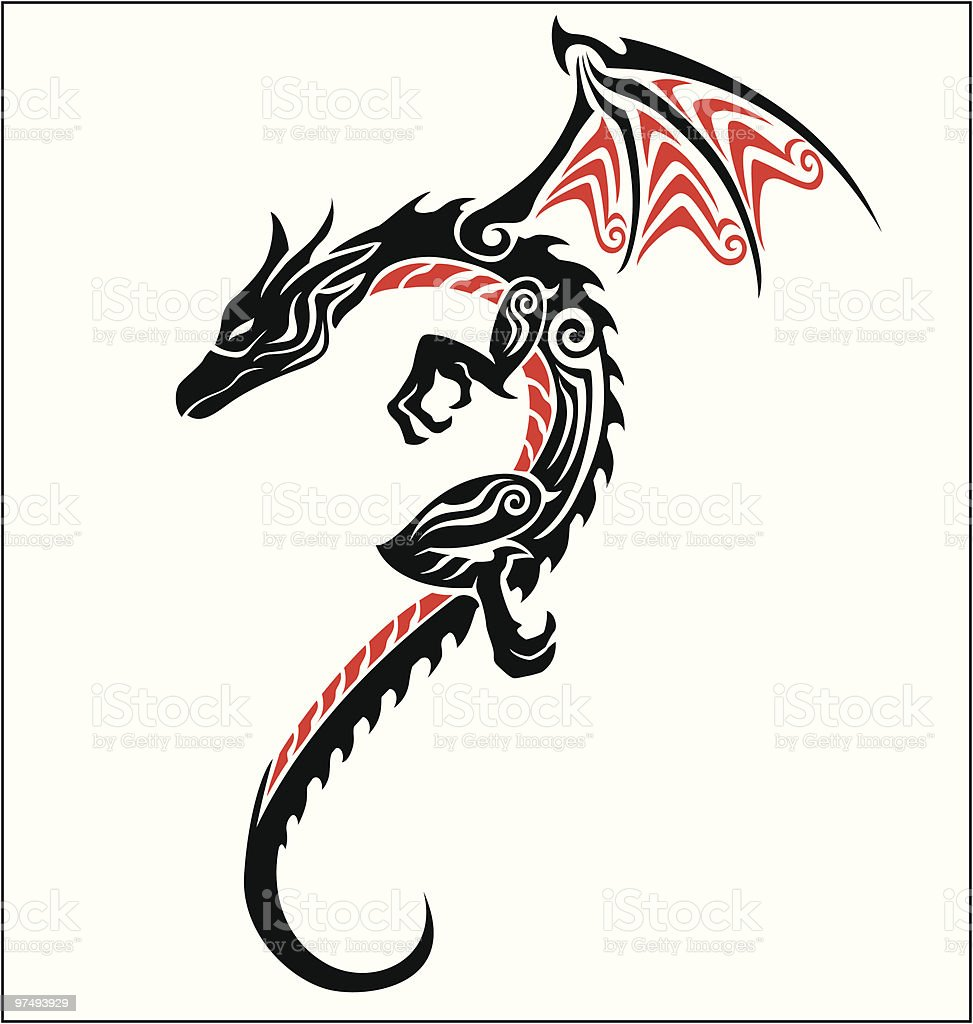 Dragon Tribal Tattoo royalty-free dragon tribal tattoo stock vector art & more images of ancient
