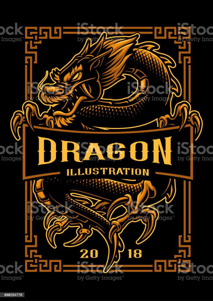Dragon t-shirt design vector art illustration