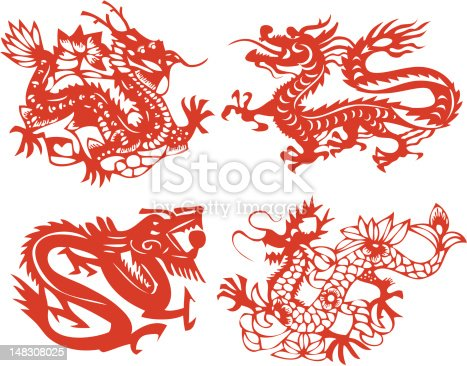 4 different style of drawing dragon.