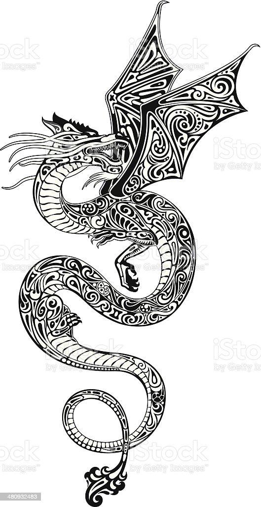 Dragon (blanco y negro) - ilustración de arte vectorial