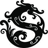 Dragon in black color
