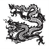 dragon icon, symbol, chinese dragon, papercut dragon, japanese dragon, oriental dragon