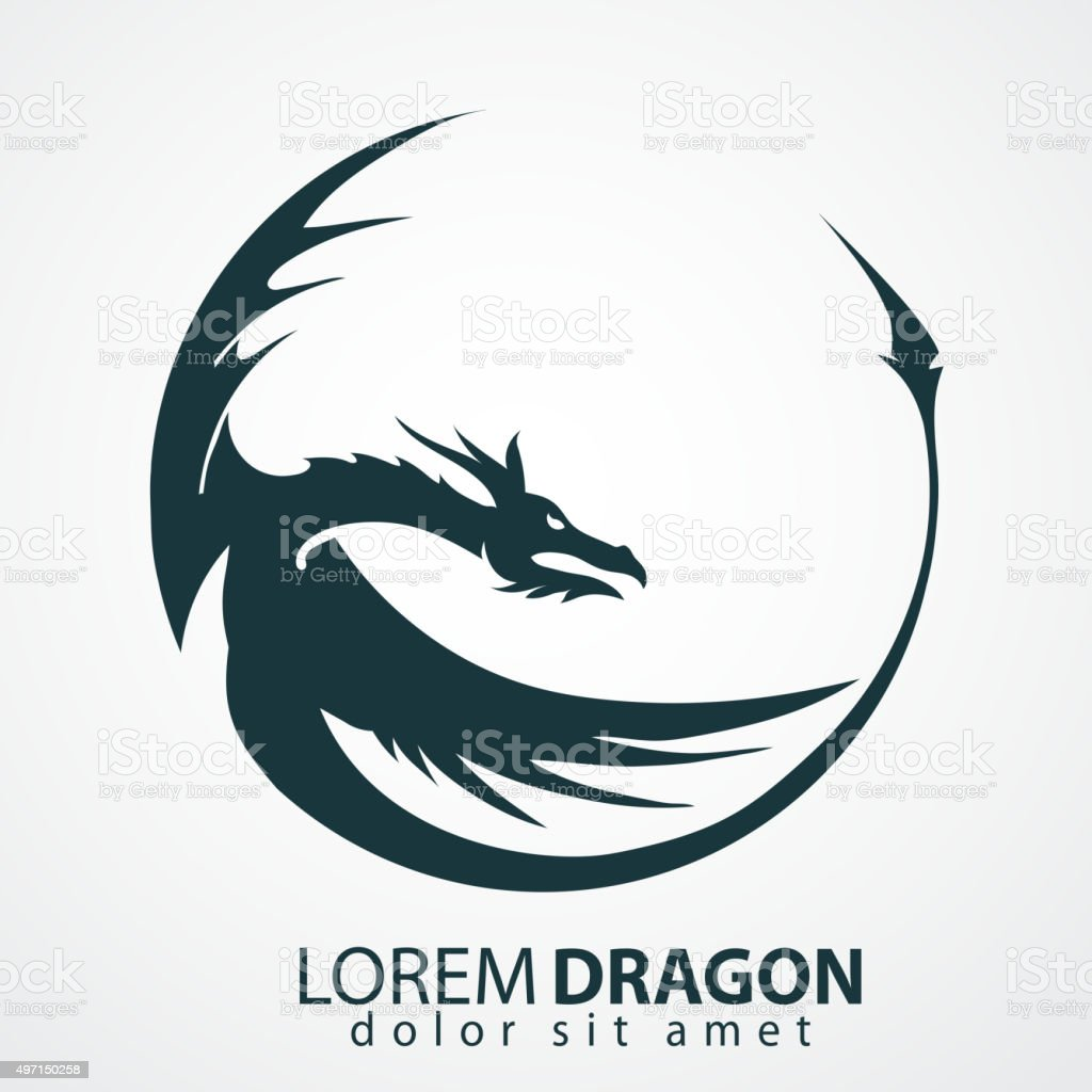 dragon vector silhouette vector art illustration