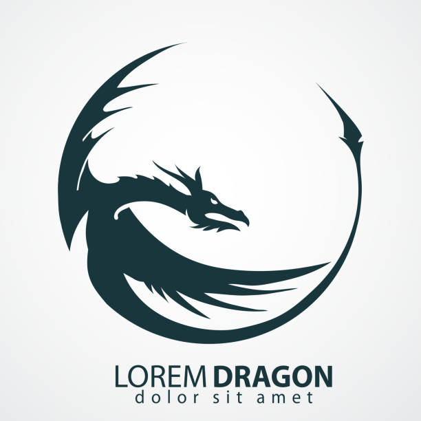 illustrations, cliparts, dessins animés et icônes de silhouette vecteur de dragon - tatouages dragons