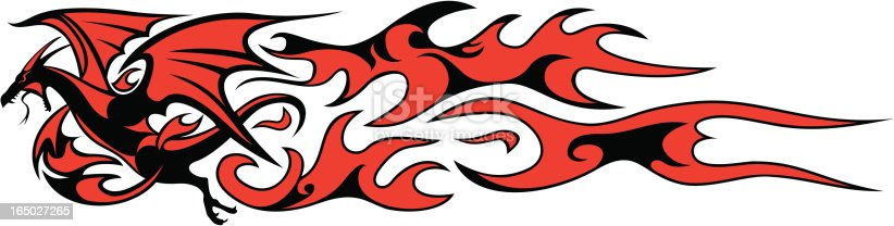 Vector dragon and flames for vinyl vehicle detailing.  Zip contains EPS, Corel Draw 8, Illustrator 7, PDF and 2400pp wide JPG.
