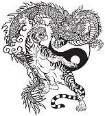 dragon versus tiger Black and white tattoo
