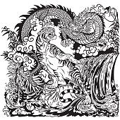 Chinese dragon and tiger in the landscape with waterfall , rocks ,plants and clouds . Two spiritual creatures in the Buddhism representing the spirit heaven and matter earth. Black and white graphic style vector illustration