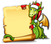 Frame with green dragon holding a roll of parchment - color illustration.