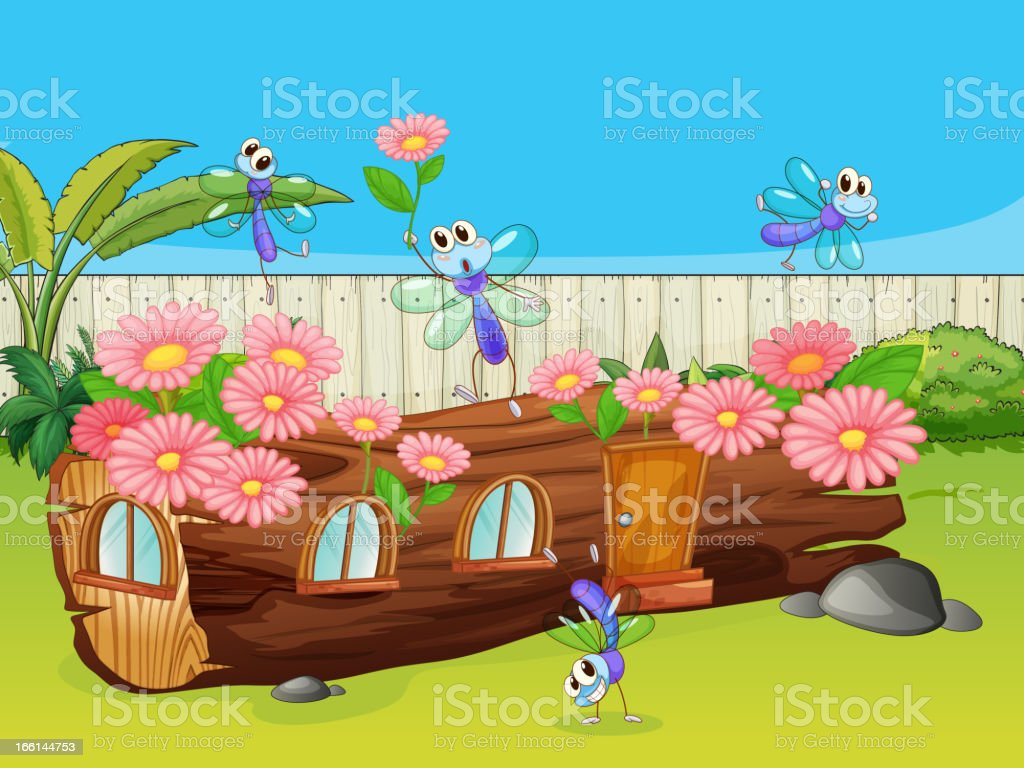 Dragonflies and wood house vector art illustration