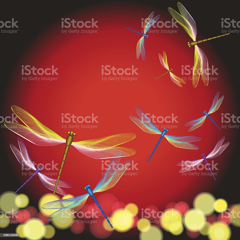 Dragonflies flying on sunset - vector Illustration royalty-free dragonflies flying on sunset vector illustration stock vector art & more images of backgrounds
