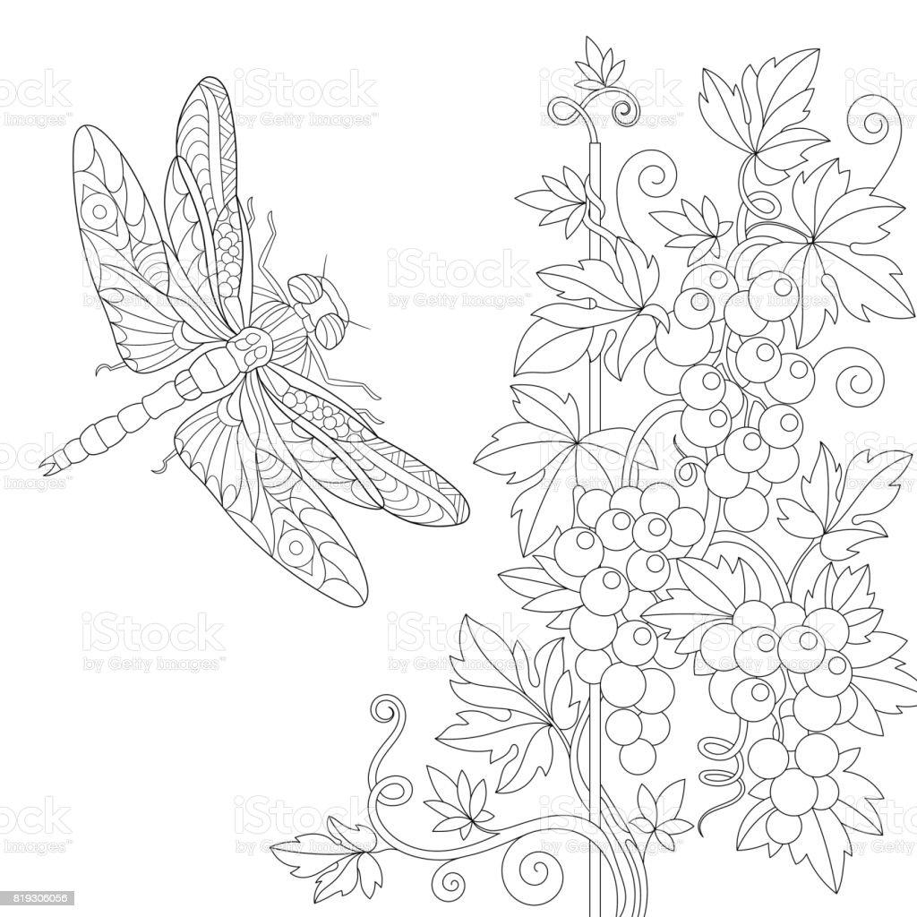 Yusufçuk Ve üzüm Asmaları Stok Vektör Sanatı Animasyon Karakter