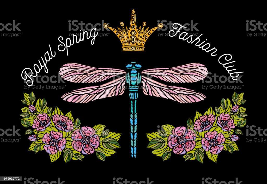 Ilustración de Libélula Mariposa Primavera Remiendo Del Bordado De ...