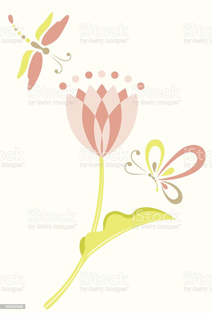 Dragonfly, Butterfly & Tulip royalty-free stock vector art