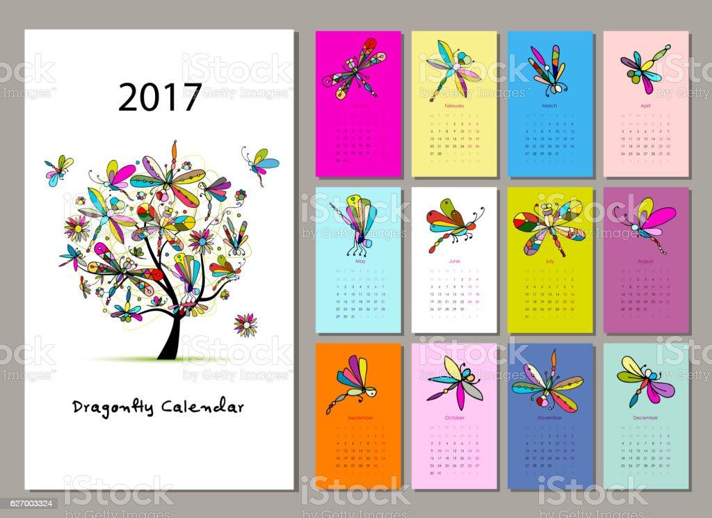 Calendar Design Pattern : Dragonfly calendar design stock vector art more