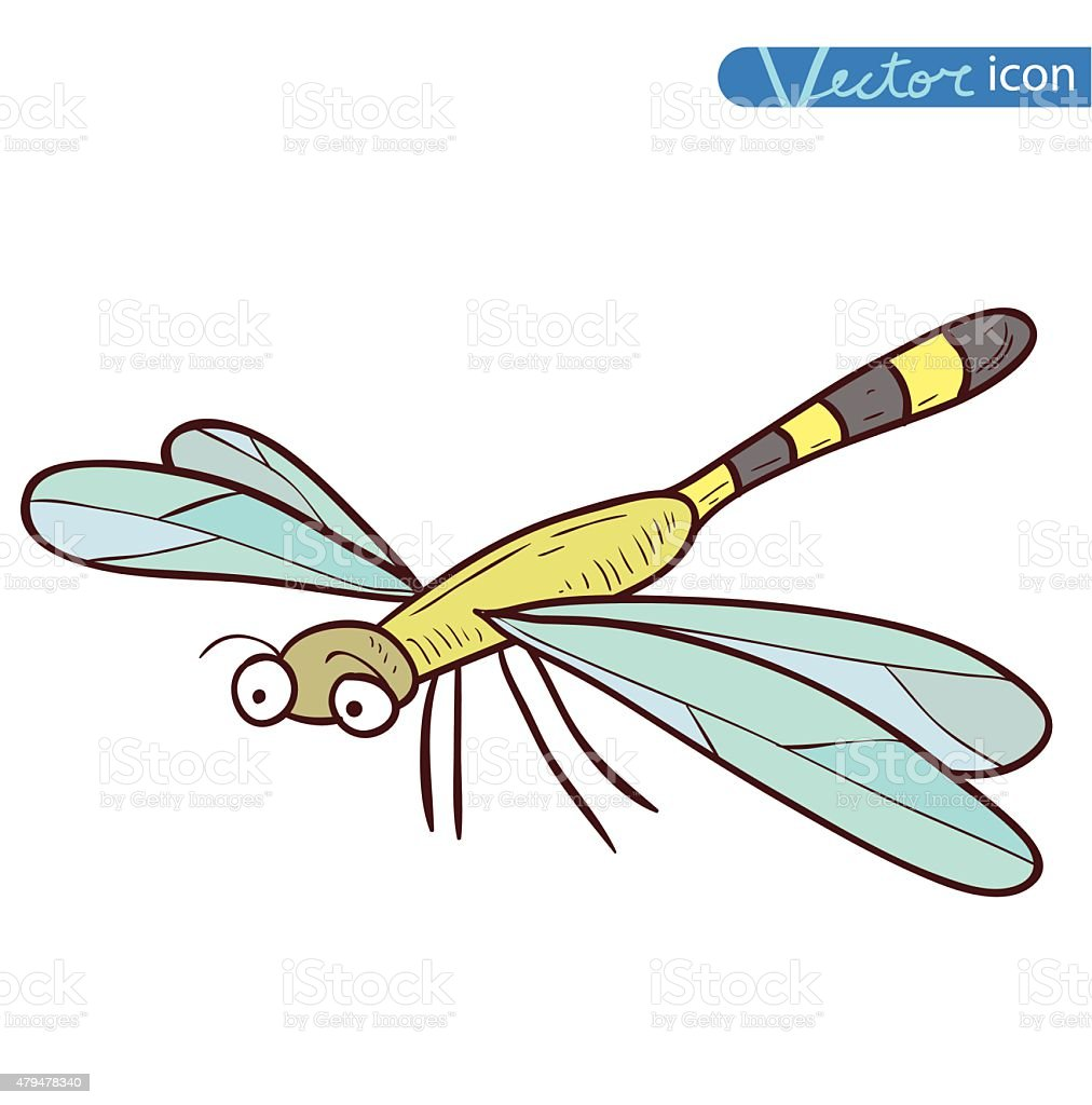 dragonfly cartoon insect icon vector illustration stock vector art