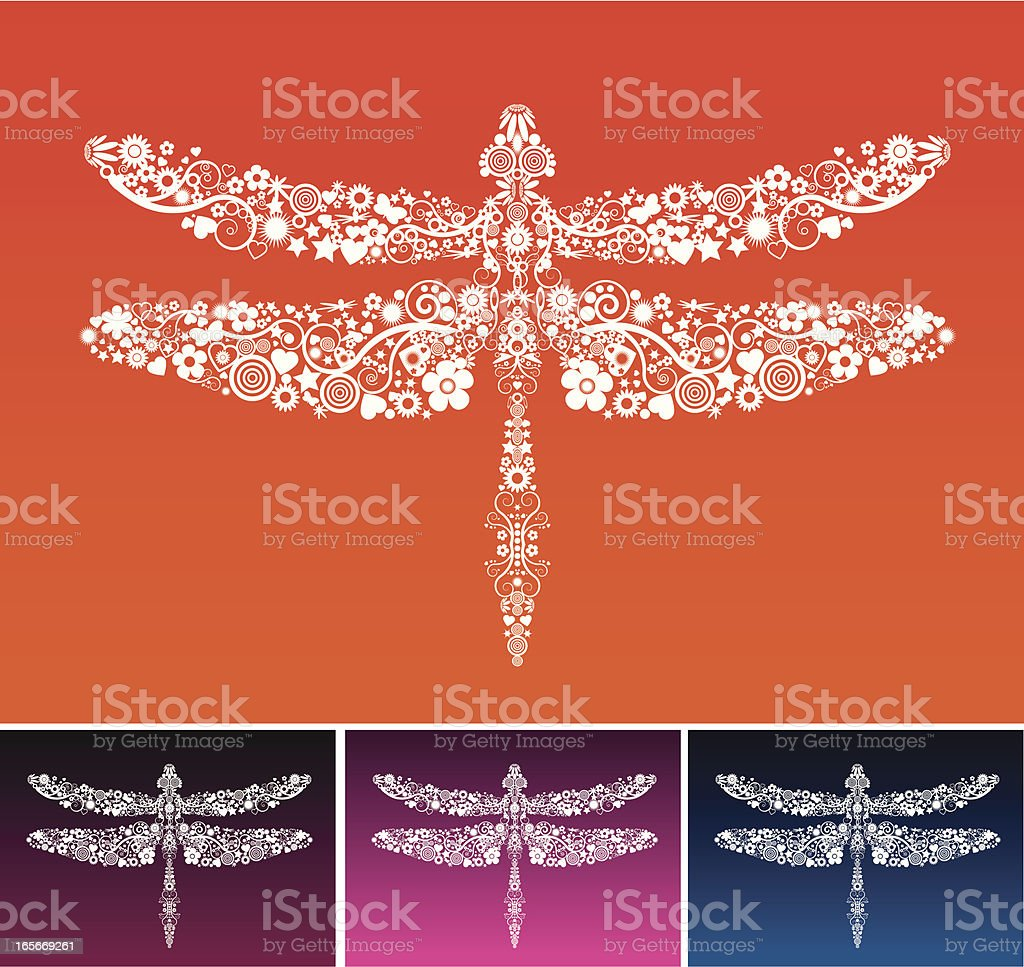 Dragonfly constructed of multiple white shape elements royalty-free stock vector art