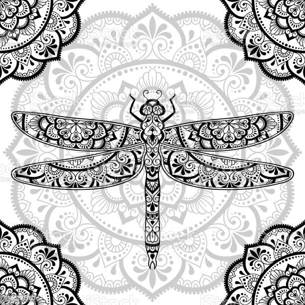 Dragonfly decorated with indian ethnic floral vintage pattern hand vector id1138297760?b=1&k=6&m=1138297760&s=612x612&h=aocymefqe0pmt32urqrvmwua 7bn8ptkqtqg0z8ehls=