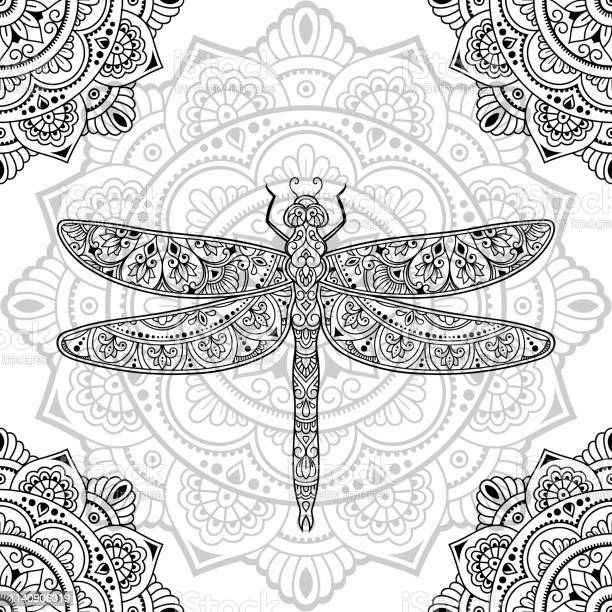 Dragonfly decorated with seamless indian ethnic floral vintage hand vector id1140906319?b=1&k=6&m=1140906319&s=612x612&h=6xa91sba0qjztdn6cmpig5xrht7oitni6s1upq5v6p8=