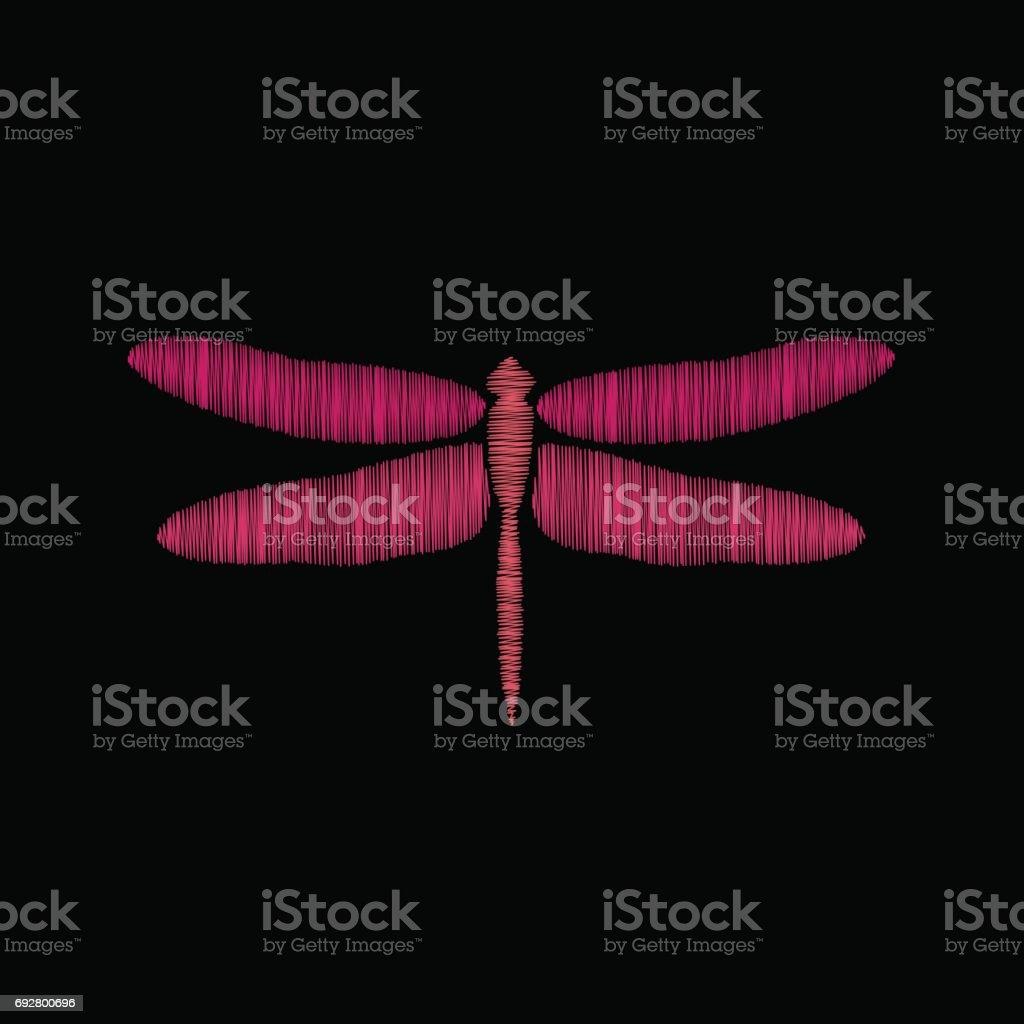 Bordado de la libélula en un fondo negro - ilustración de arte vectorial