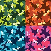 Fancy colored camo pattern with dragonflies. 4 color sets, seamless. CMYK vector illustration with global colors.