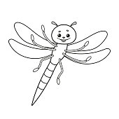 Dragonfly icon coloring page. Vector Illustration.