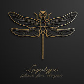 Dragonfly logo design vector illustration eps10. Designer logos.
