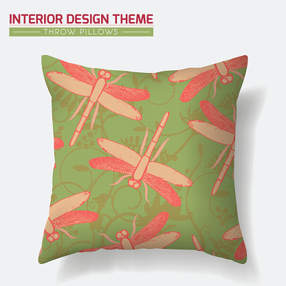 Dragonfly Pattern Throw Pillow design template