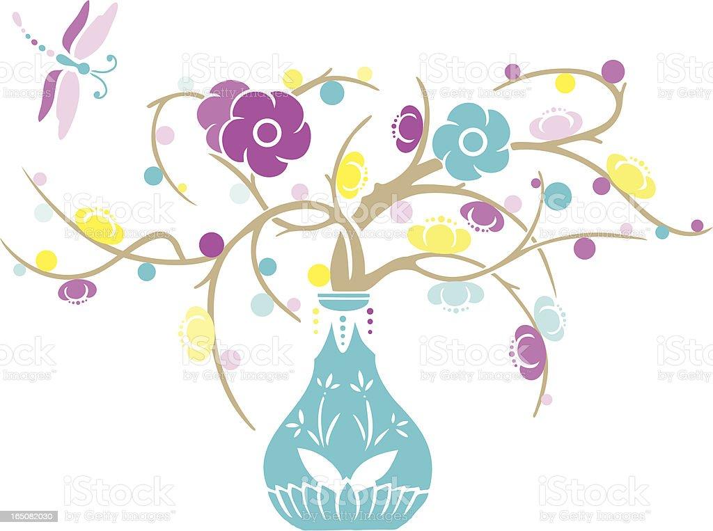 Dragonfly & Plum Blossom royalty-free stock vector art