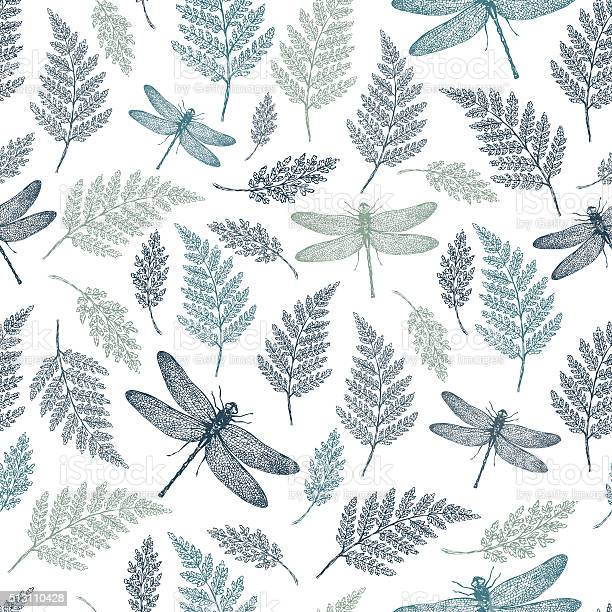 Dragonfly seamless pattern fern botanical background vector vector id513110428?b=1&k=6&m=513110428&s=612x612&h=r3empgdtz3lfklp41mney2o1iosh4t6sbunmta0dztw=