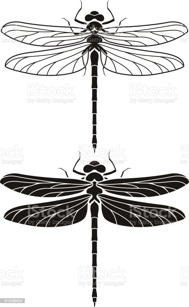 Dragonfly silhouette icons set. vector art illustration