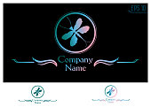 dragonfly silhouette in a circle. logo for the company in bluish-pink gradient color with monochrome option