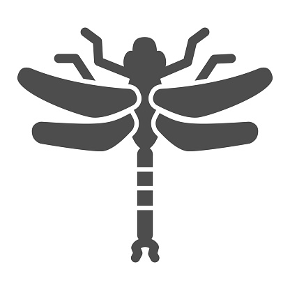 Dragonfly solid icon, Insects concept, beautiful predatory insect with two transparent wings sign on white background, Dragonfly silhouette icon in glyph style for mobile. Vector graphics.