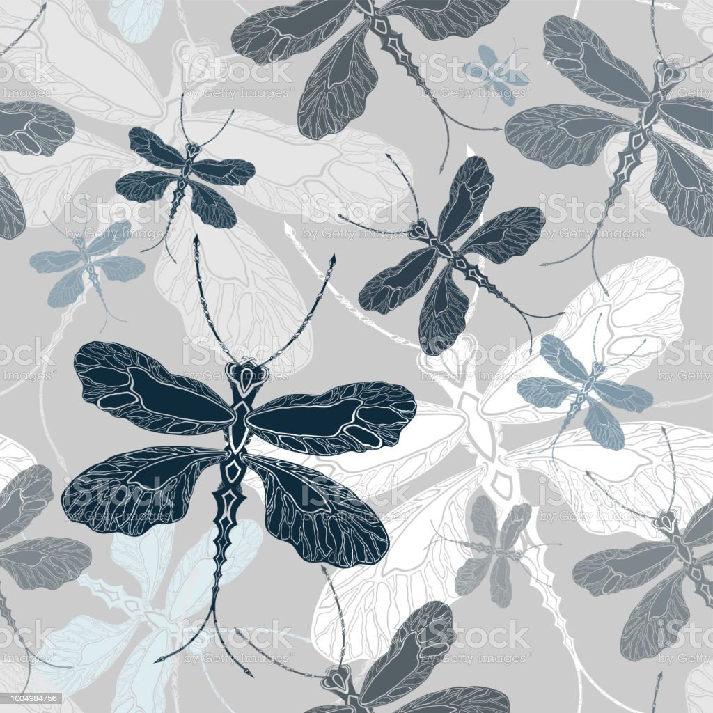 Dragonfly White Cyan And Blue Shades On Light Gray Seamless
