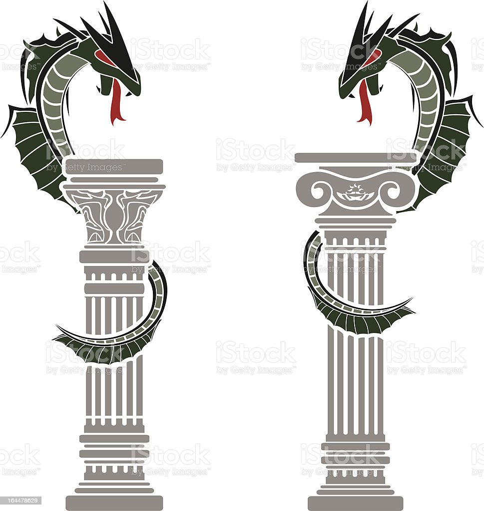 dragons and columns royalty-free stock vector art