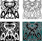 Dragons celtic knot vintage pattern