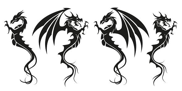 Dragons - Dragon symbol tattoo, black and white vector illustration