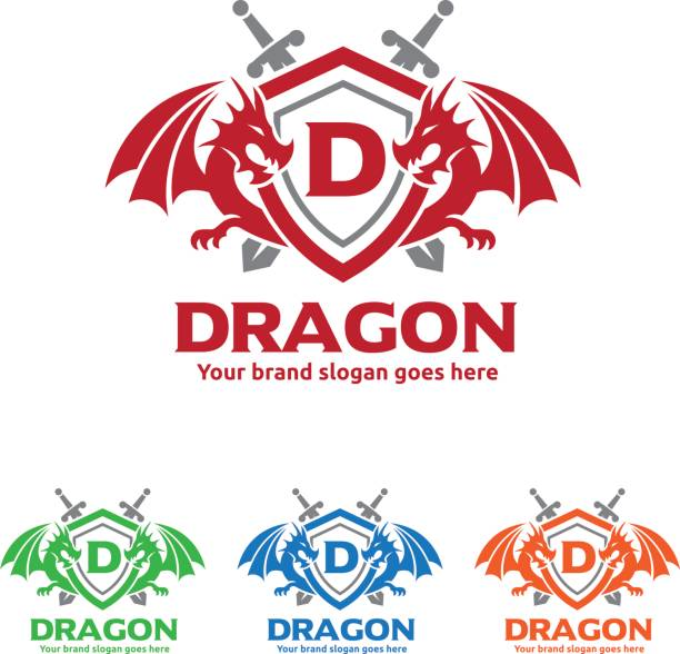 Dragons Shield with Swords icon vector art illustration