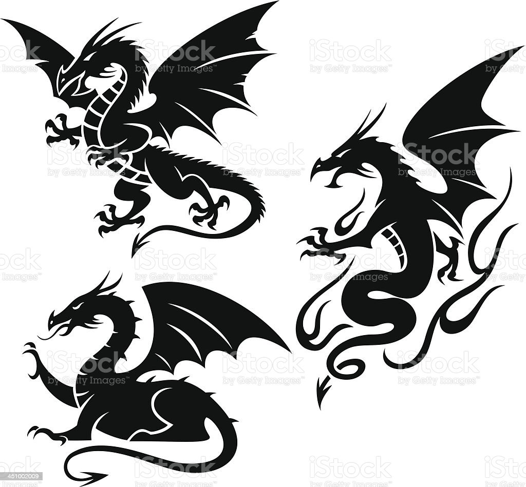 Dragons vector art illustration