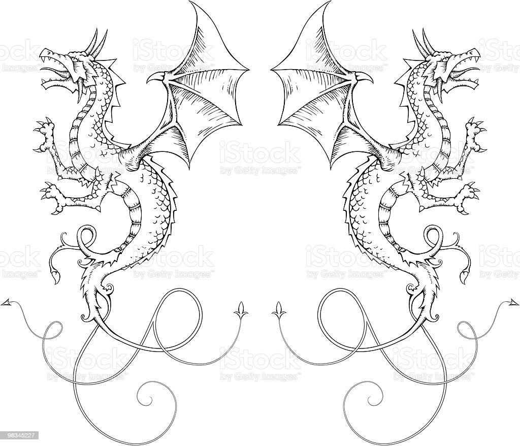 Draghi draghi - immagini vettoriali stock e altre immagini di ala di animale royalty-free