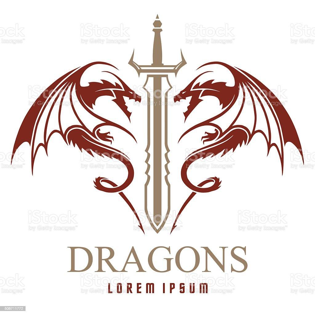 ドラゴン、殺陣にロゴのテンプレート ベクターアートイラスト