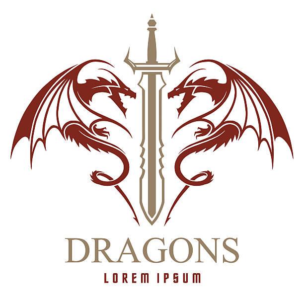 ドラゴン、殺陣にロゴのテンプレート - 竜のタトゥー点のイラスト素材/クリップアート素材/マンガ素材/アイコン素材