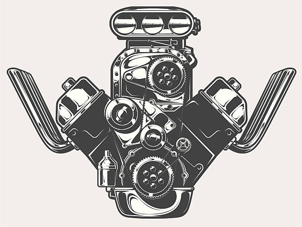 Royalty Free Supercharged Engine Clip Art Vector Images
