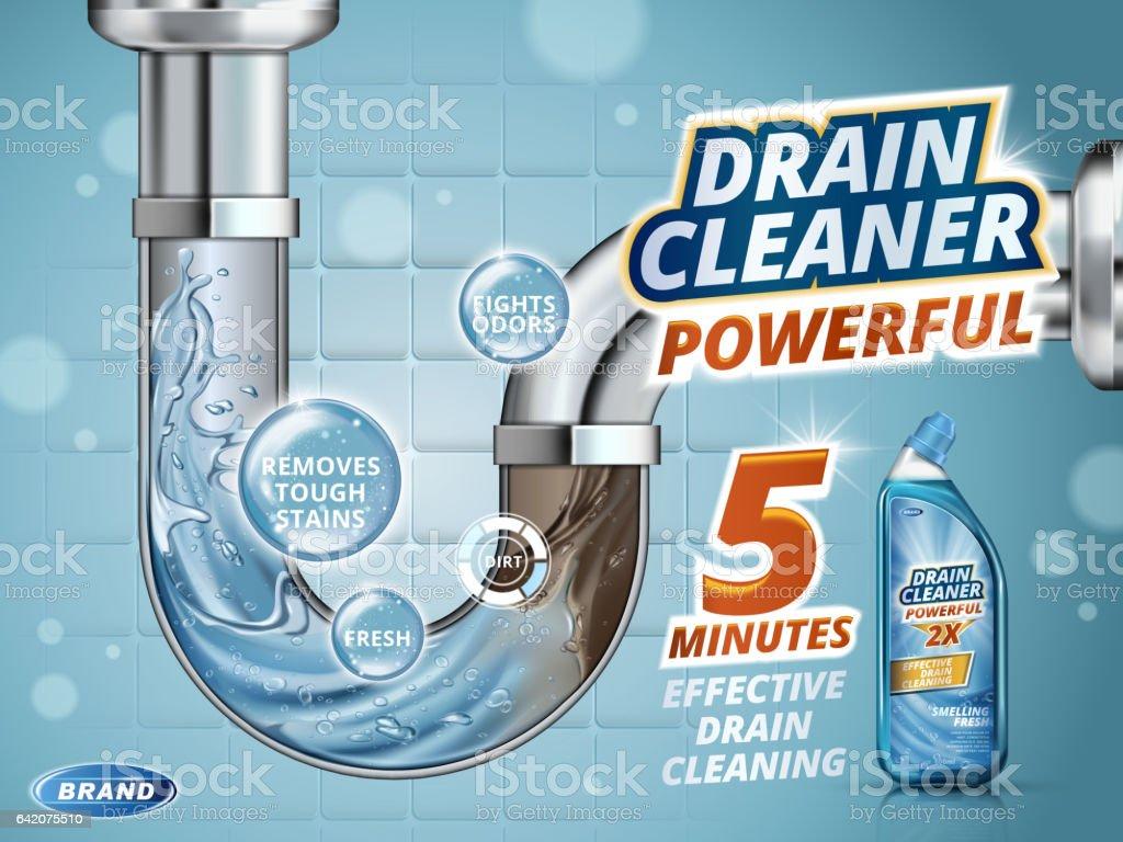 drain cleaner ads stock vector art amp more images of bottle
