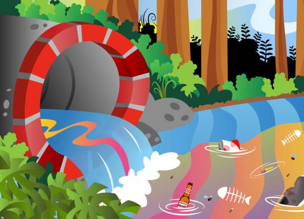 Drain Pipe Pollution vector art illustration