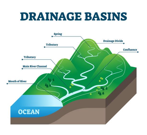 Drainage basins vector illustration. Labeled educational rain water scheme. vector art illustration
