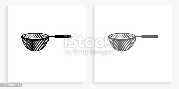 Drainer Black and White Square Icon. This 100% royalty free vector illustration is featuring the square button with a drop shadow and the main icon is depicted in black and in grey for a roll-over effect.